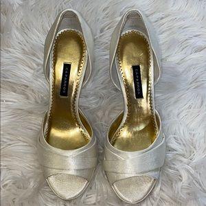 Caparro white satin heels